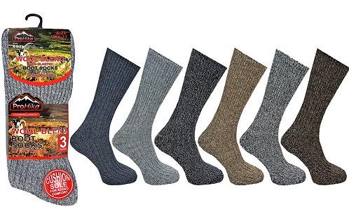 Mens 3pk Easy Grip Mountain Wool Socks