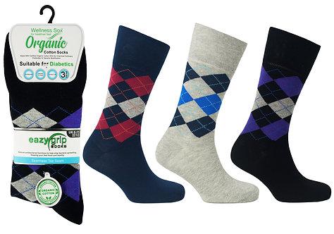 Mens 3pk Wellness Organic Rome Socks
