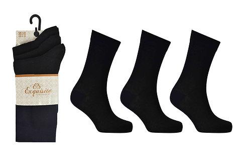 Ladies 3pk Exquisite Black Socks