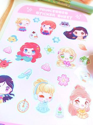 Lámina de pegatinas de Princesas