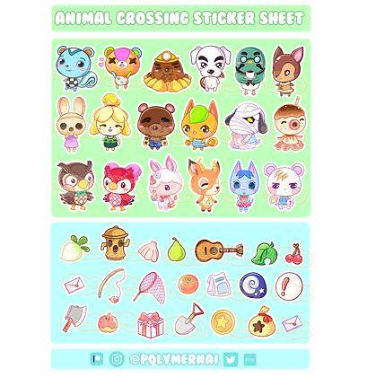 Lámina de pegatinas de Animal Crossing