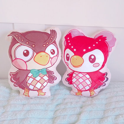 Peluches Celeste y Blathers