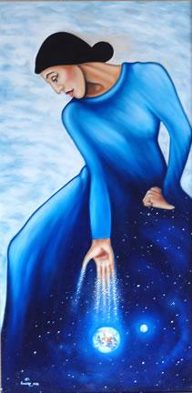 Blue Smoke Woman