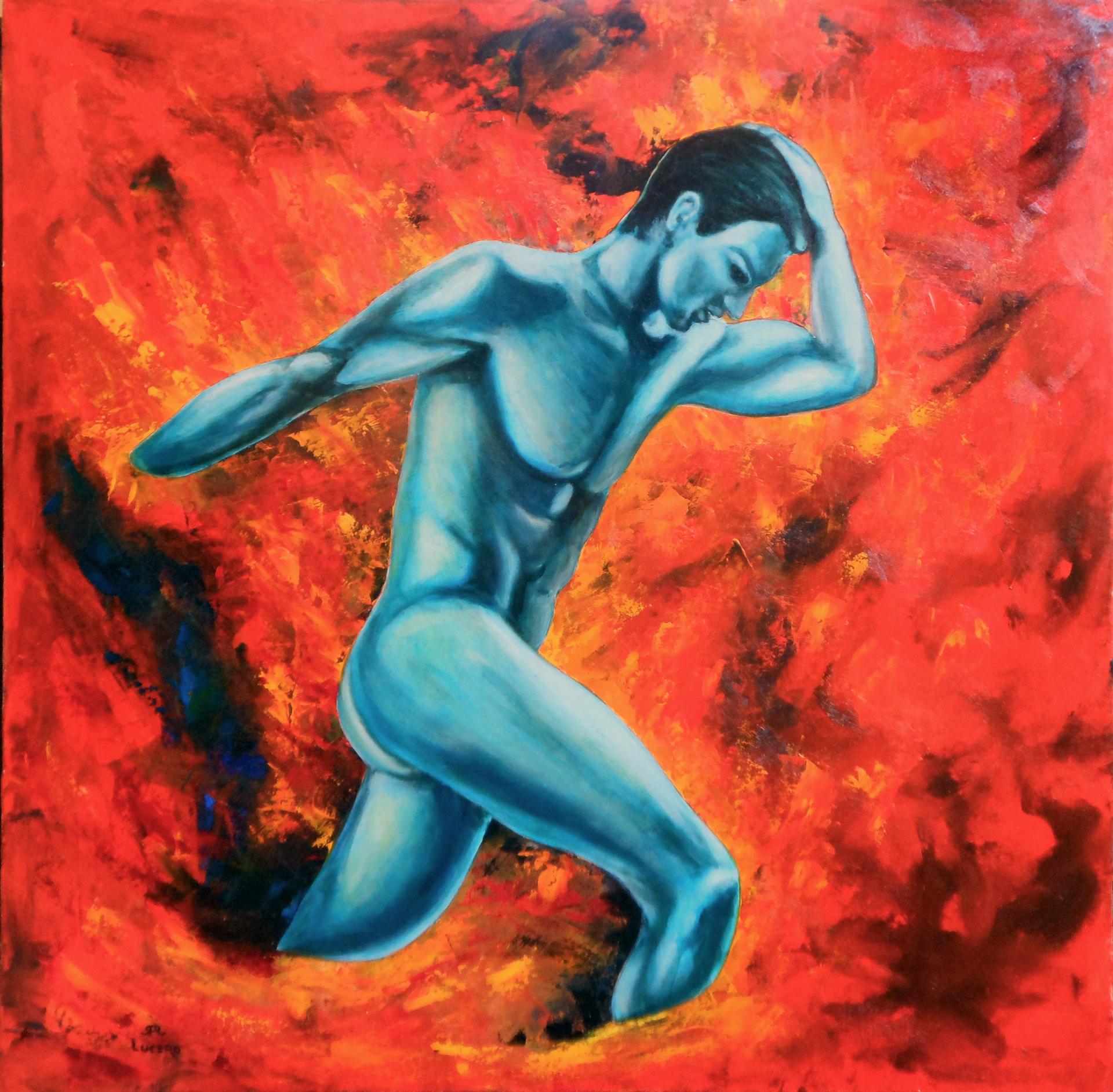 Blue Man on Fire