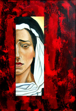 Lady of Sorrows in Red