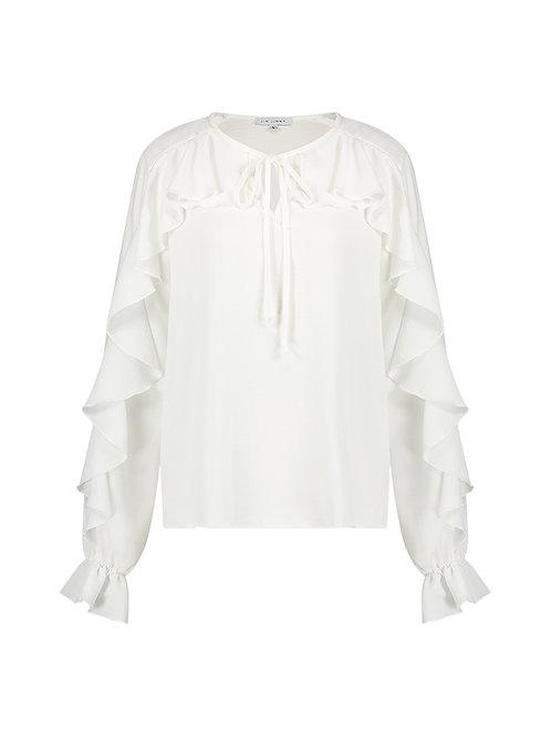Pom ruffle blouse