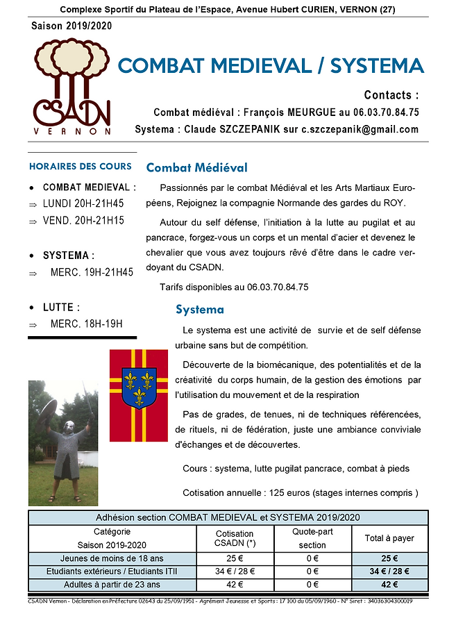 Fiche section COMBAT MEDIEVAL - SYSTEMA