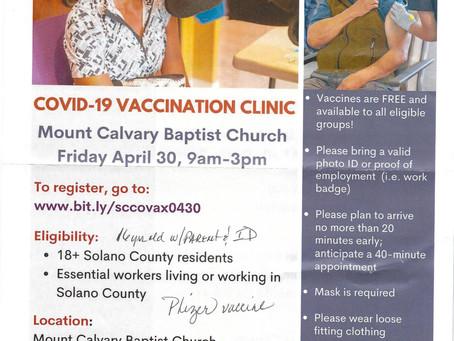 Mt. Calvary Baptist Church Vaccine