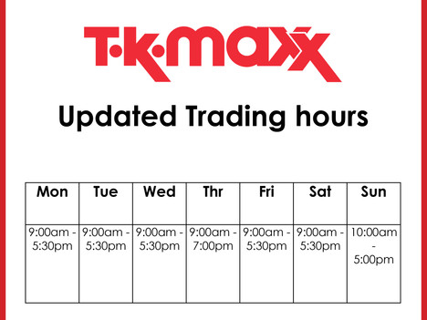 TK Maxx updated trading hours