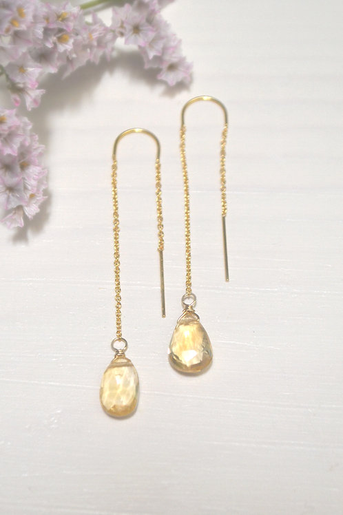 Fortune Favors Her teardrop threader earrings