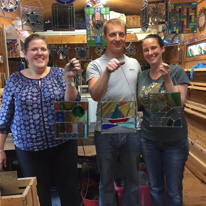 Samantha James & Lydia.. Cheryl Powling Stained Glass Classes