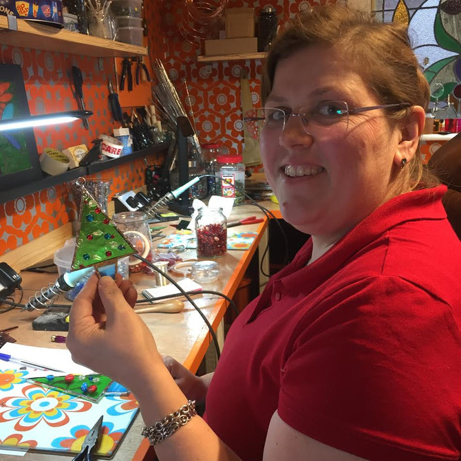 Lydia & Ruth Christmas Foiling Stained Glass Class