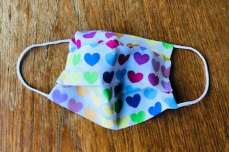 Rainbow Hearts Handmade Face Mask