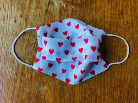 Red Hearts Handmade Face Mask