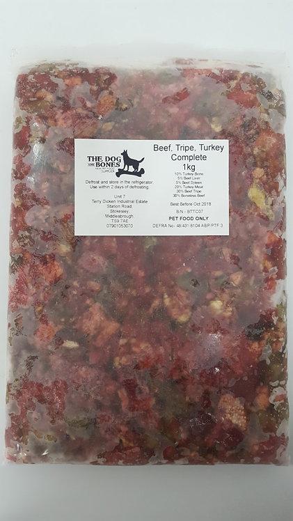 The Dog & Bones - Beef, Tripe & Turkey Complete 1kg