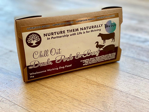 Nurture Them Naturally Superfood Range - Chill Out Duck, Pork, Beef Complete 1kg
