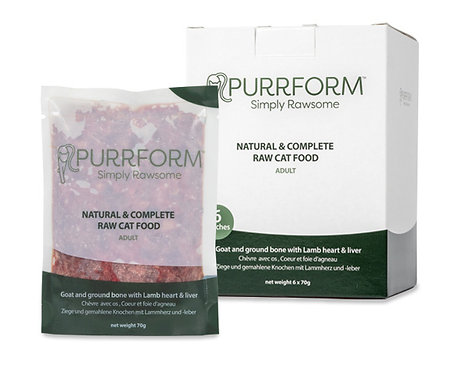 Purrform - Minced Goat & Ground Bone with Lamb Heart & Liver 6x70g Pouches