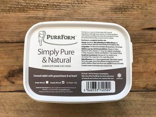 Purrform - Farmed Rabbit & Ground Bone with Ox Heart 450g