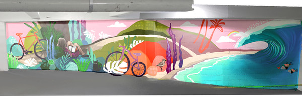 This design was intended to be painted in the concrete parking garage at the base of a residential condominium. In an area of the garage with bright light and high visibility, bicycle racks and surfboard racks were to be installed onto the wall. The color presence of blue was intended to both bring peace to viewers, and in certain studies has shown to lessen crime rates. The illustration of the girl reading is showing her journey around the city, finding comfortable places to work on her studies as she eventually makes her way to the beach. The state fish are there in the wave to greet her. This piece is meant to invoke the feeling of cozyness and home to the residents in their apartments.