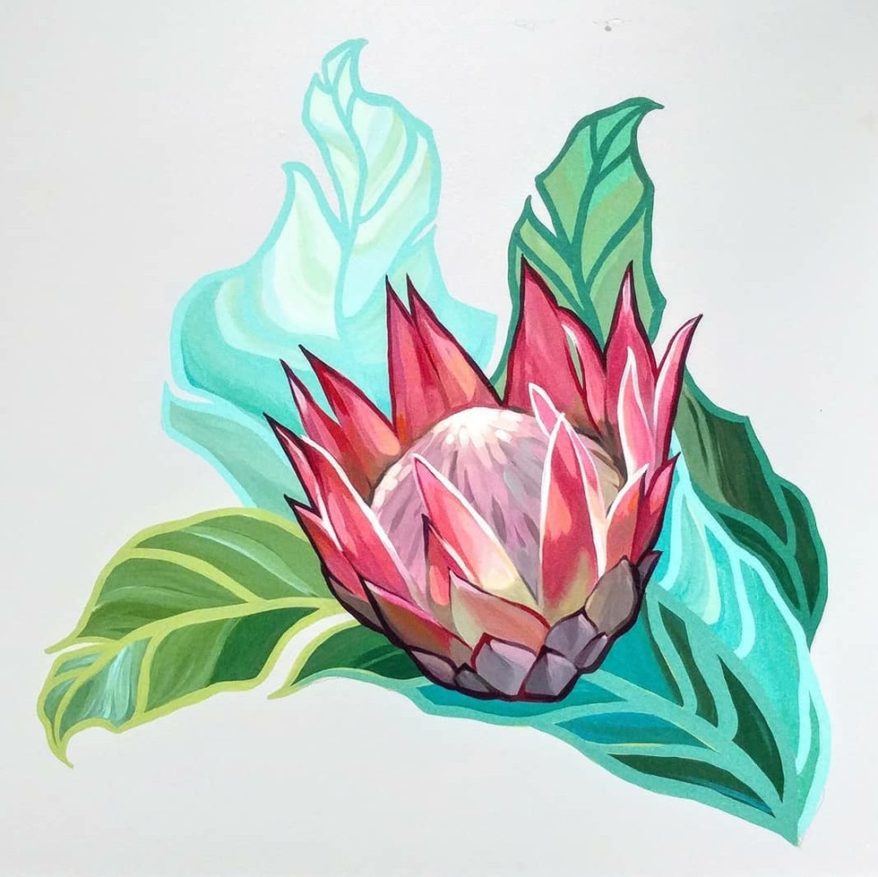 A gorgeous painted King Protea was painted for Alii Animal Hospital & Resort as one of several painted featured moments in their boarding rooms.