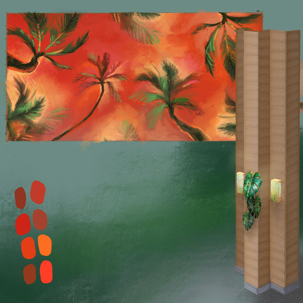 This mockup design was commissioned with the parameters of being painted on 3 sections of ceiling that were each 15 ft x 30 ft as a lounge recreation area for a community on Oahu. The pillars were to be lined with wood paneling and metal sculptures of leaves, along with light fixtures were to be installed. I created the mockup of the vision for the pillars in order to coordinate my ceiling design. The ceilings were all to be painted red, with instruction for palm leaves to be painted on top of that color, so I designed a fiery sunset blend from the perspective of being below the trees looking upwards at them, in orde to give the illusion of height.