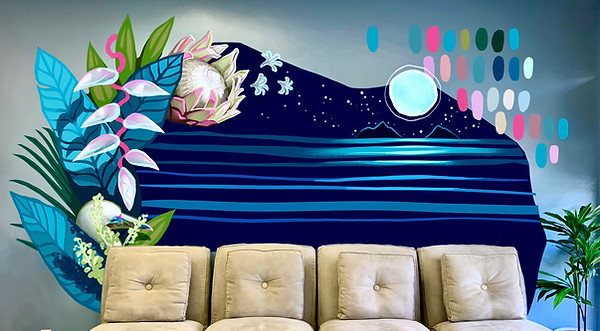 This design was intended to put clients at ease and feel a sense of peace with the cool tones, and calm quiet of the ocean at night. Included are hints of playful pattern, and a subtle allusion to the iconic Mokulua islands to the Kailua area. A sea bird is nestled in the foliage, while heliconia, King Protea, and beach Naupaka flowers float overhead.