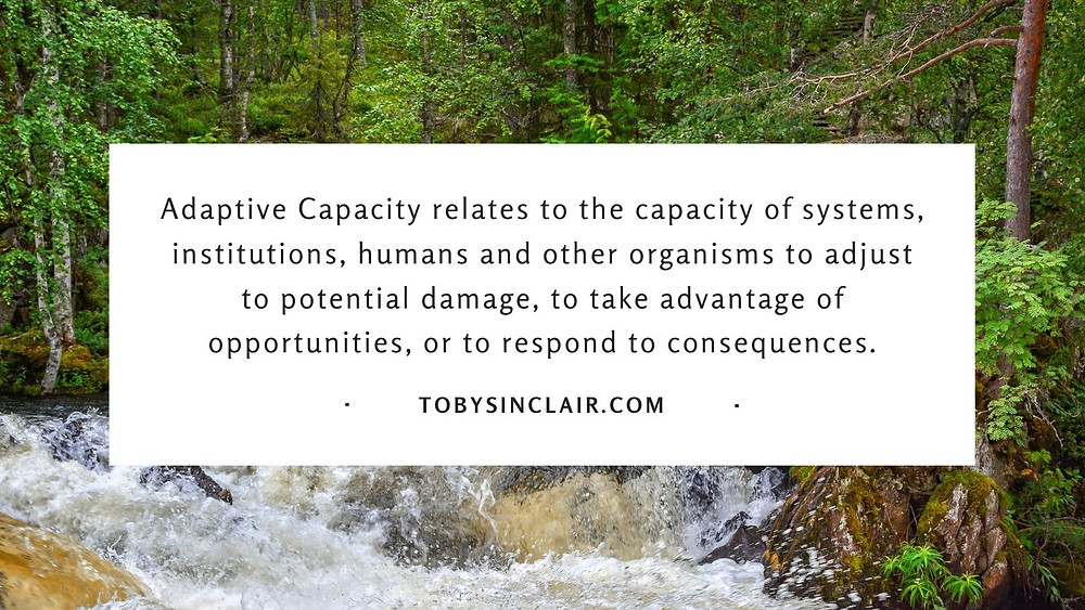 Adaptive capacity relates to the capacity of systems, institutions, humans and other organisms to adjust to potential damage, to take advantage of opportunities, or to respond to consequences.