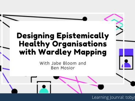 Learning Journal: Wardley Mapping - Ben Mosior and Jabe Bloom | Designing Healthy Organisations