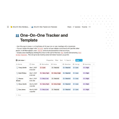 One-On-One Template Tracker