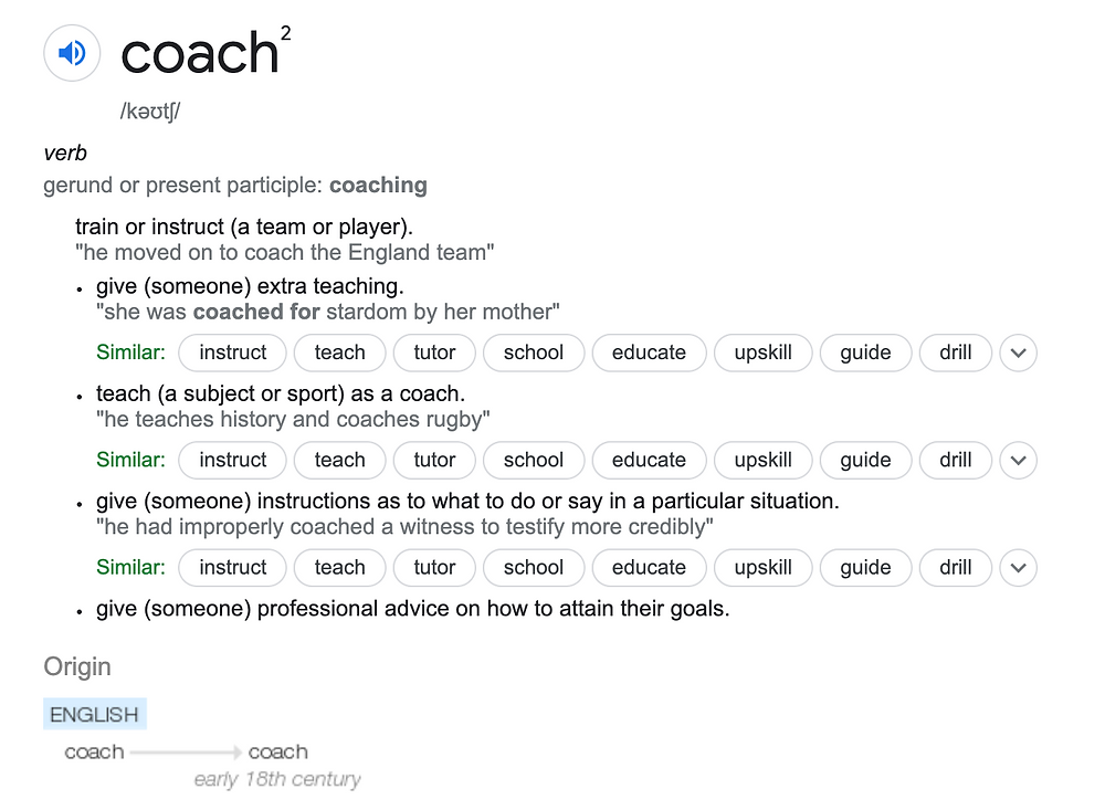 Coaching Definition Dictionary