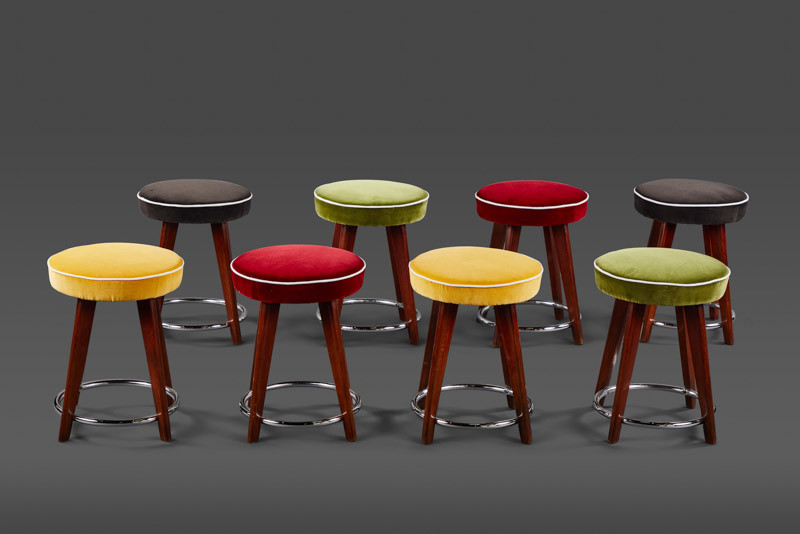 "A SET OF EIGHT CHARMING 18"" STOOLS"