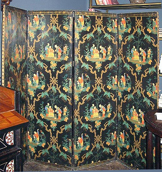 A HIGHLY DECORATIVE FRENCH LOUIS PHILIPPE PERIOD FOUR PANEL PAPER SCREEN