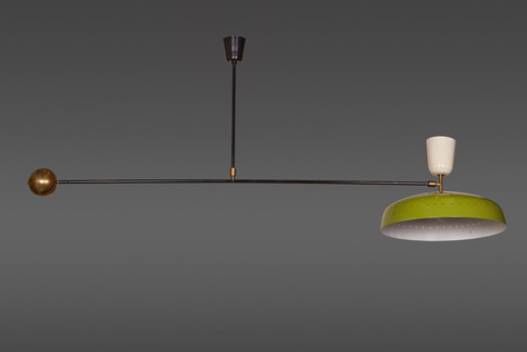 AN IMPORTANT FRENCH SWING ARM CEILING LAMP BY PIERRE GUARICHE