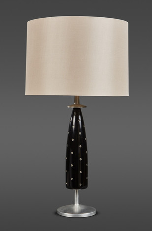 A BLACK LACQUER AND JEWELED TABLE LAMP BY TOMMI PARZINGER