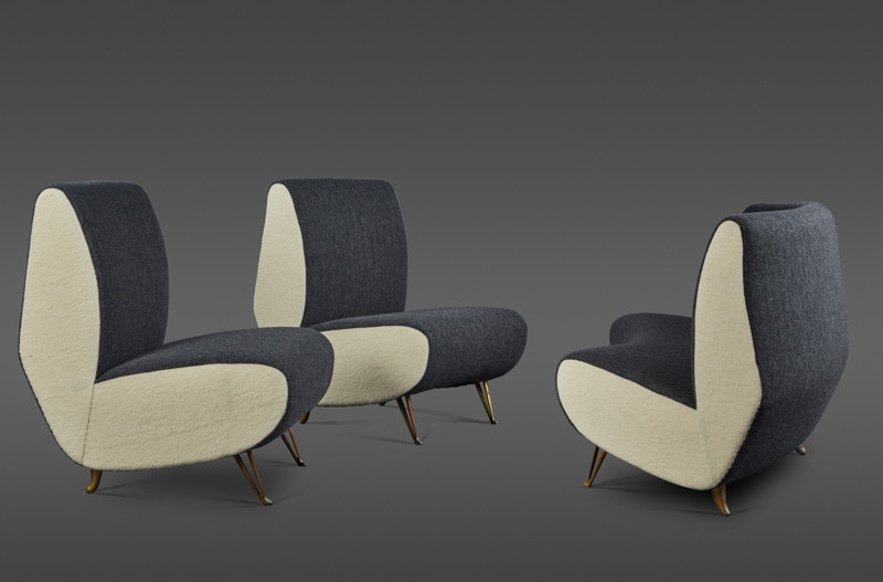 """A RARE THREE PIECE SUITE OF UPHOLSTERY IN GRAY AND CRÈME """"COOKED"""" WOOL FABRIC, IN THE STYLE OF GIO PONTI BY ISA, BERGAMO"""