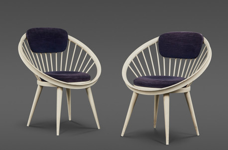 A RARE PAIR OF CIRCULAR CHAIRS BY YNGVE EKSTROM FOR SWEDESE