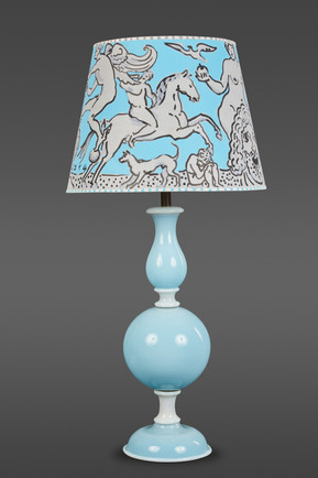 A PALE BLUE AND WHITE MURANO GLASS TABLE LAMP BY VENINI