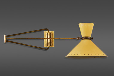 A LARGE BRASS FRENCH WALL LIGHT BY MAISON LUNEL