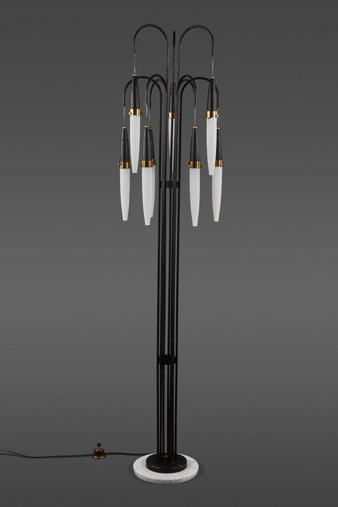 A STUNNING STILNOVO FLOOR LAMP WITH NINE CASCADING PENDANT LIGHTS OF OPALINE GLASS