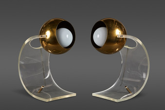 A RARE PAIR OF LUCITE TABLE LAMPS BY ROBERT SONNEMAN