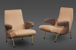 "A PAIR OF ""DELFINO"" ARMCHAIRS BY ERBERTO CARBONI MANUFACTURED BY ARFLEX"