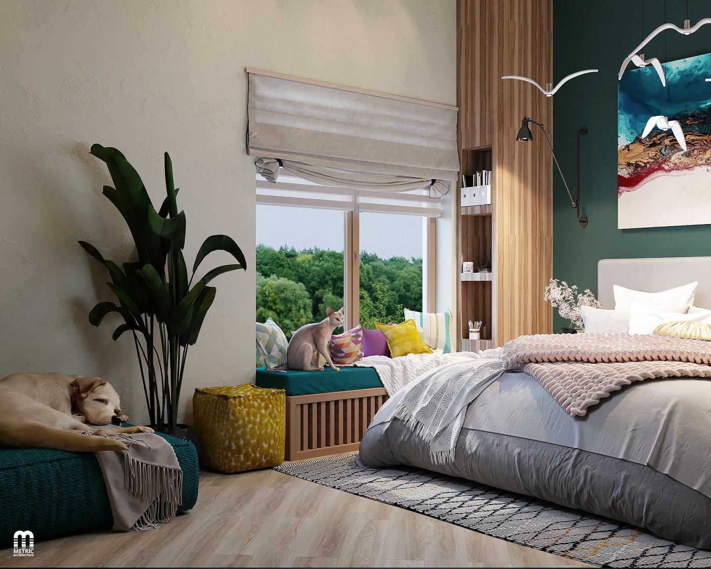 Дизайн спальни в доме METRIC Минск