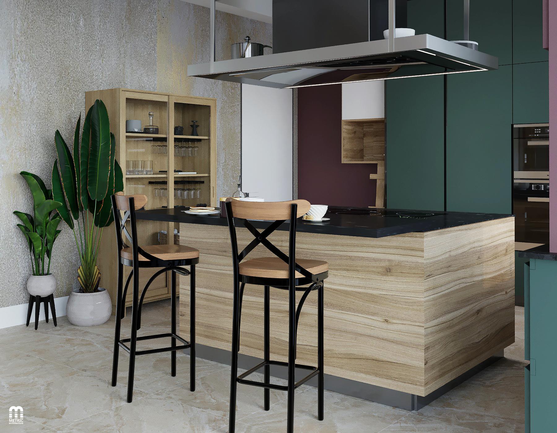 Интерьер кухни-гостиной дом METRIC