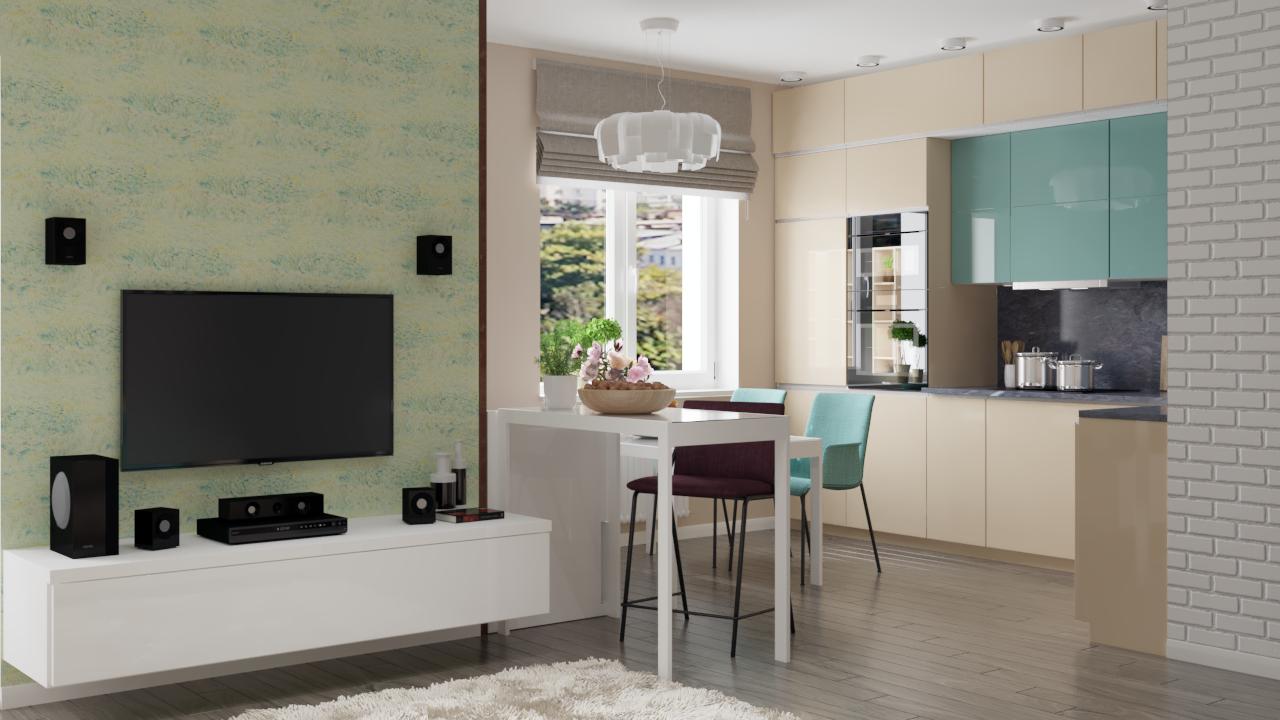 Дизайн кухни-гостиной METRIC Минск