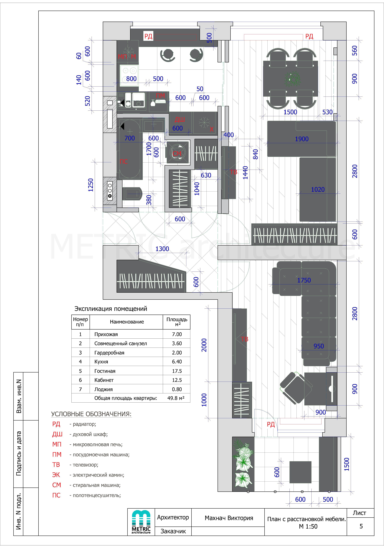 5 лист План с привязкой мебели