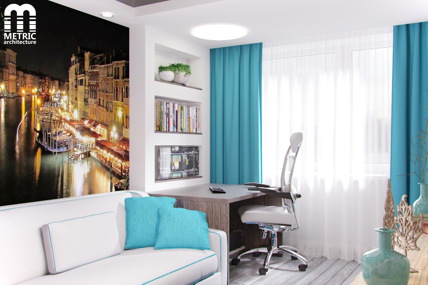Дизайн интерьера спальни-кабинета