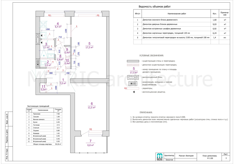 3 лист План разбираемых конструкций