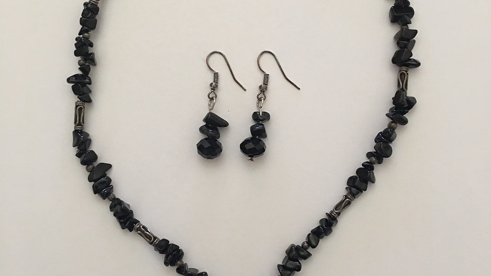 Black Onyx Necklace and Earrings