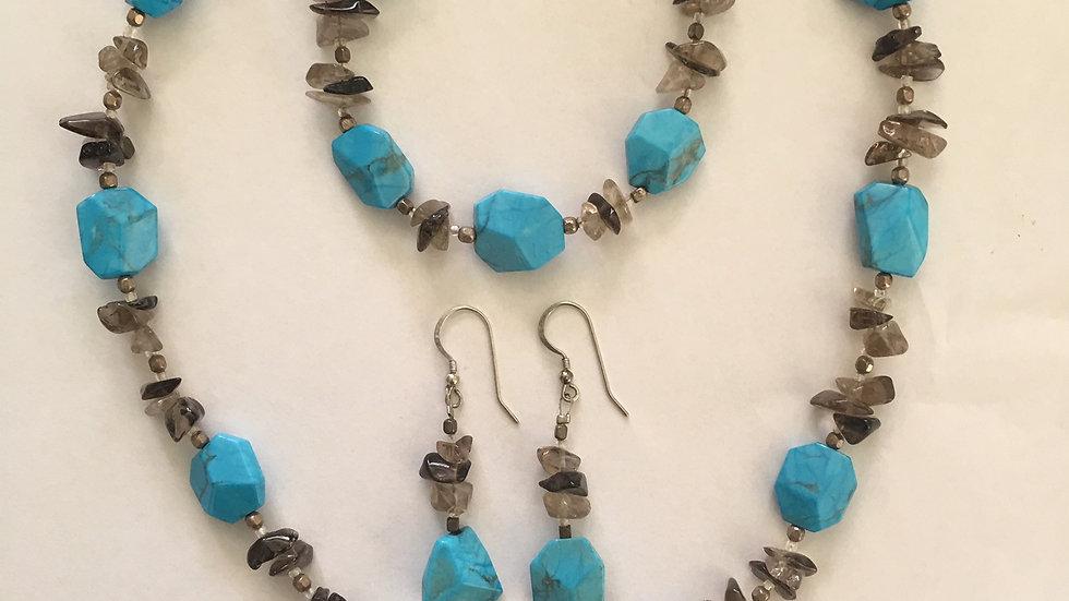 Blue Howlite and Smoky Quartz Set