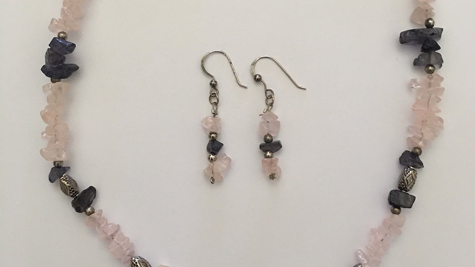 Rose Quartz and Iolite Crystal Necklace & Earrings